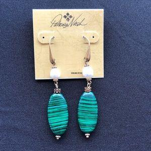 Patricia Nash Double Drop Malachite Stone Earrings